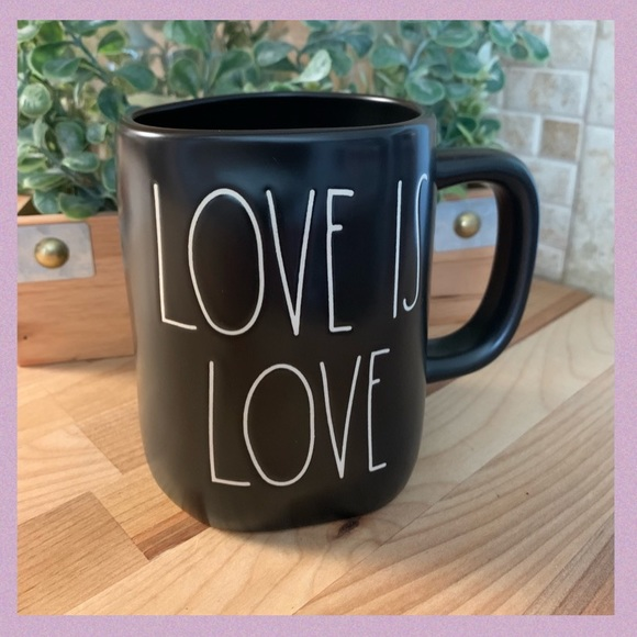 "RAE DUNN ""LOVE IS LOVE"" LL BLACK CERAMIC MUG"